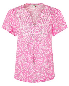 Monsoon Pink Linen Print Emb Top