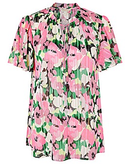 Monsoon PINK FLORAL PRINTED LUREX BLOUSE