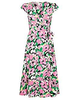 Monsoon Pink Floral Wrap Midi Dress