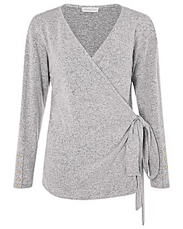 Monsoon Jules Stretch Grey Wrap Top
