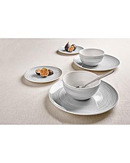 Swirl 12 Piece Dinner Set Grey