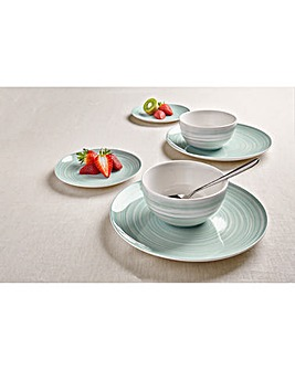 Swirl 12 Piece Dinner Set Sage