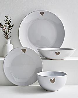 Cosy Heart 12 Piece Dinner Set