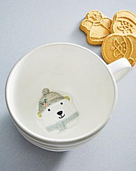 Polar Bear Striped Grey Mug