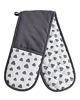 Grey Heart Double Oven Glove