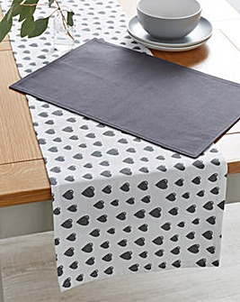 Grey Heart Table Runner and 4 Placemats
