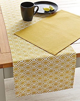 Ochre Geo Table Runner and 4 Placemats