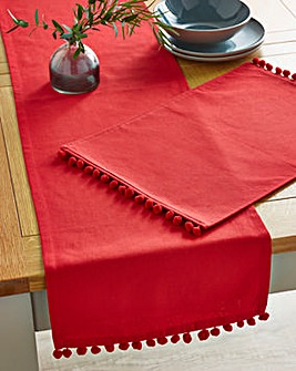Red Pom Pom Table Runner and 4 Placemats