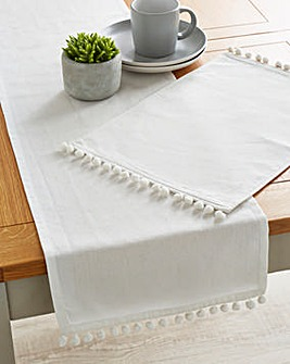 White Pom Pom Table Runner and Placemats