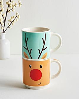Reindeer Stacking Mugs