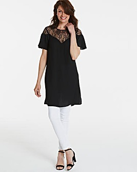 Black Longer Length Lace Yoke Blouse