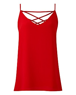 Red Cross Back Strappy Cami
