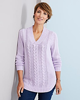 Julipa Cable Knit V Neck Jumper