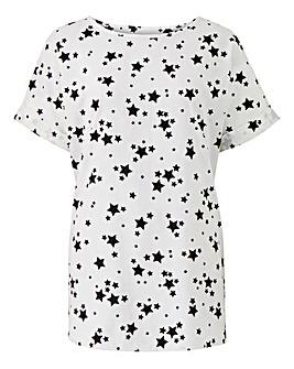 Star Print Drop Sleeve Shell Top