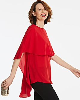 Red Cape Sleeve Dip Back Blouse