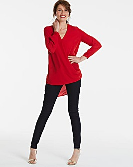 Red Longer Length Wrap Blouse
