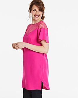 Hot Pink Longer Length Lace Yoke Blouse