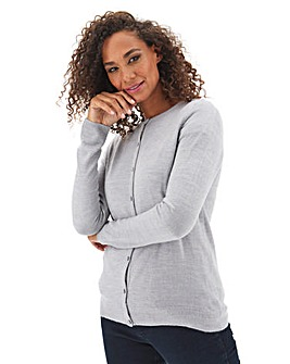 Julipa Grey Marl Super Soft Round Neck Cardigan
