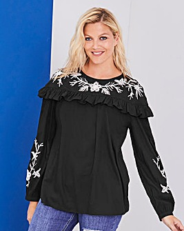 Black Contrast Embroidered Blouse