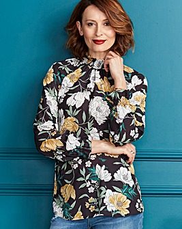 Black Floral Shirred Cuff Blouse