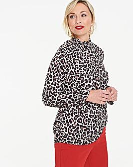 Animal Print Shirred Cuff Blouse