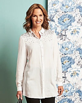 Ivory Embellished Tunic Shirt