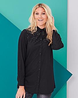 Black Embellished Tunic Shirt