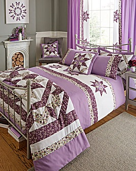 Brianne Purple Puffball Duvet Cover Set
