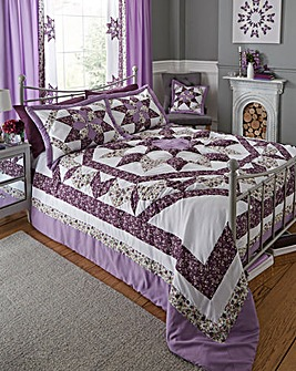 Brianne Purple Puffball Bedspread