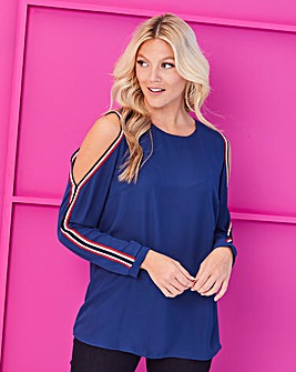Navy Cold Shoulder Top With Trim