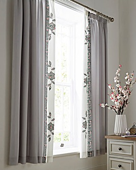 Faye Embellished Grey Curtains