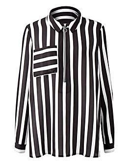 Black/White Stripe Zip Front Shirt