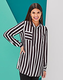 Black/White Stripe Zip Front Shirt