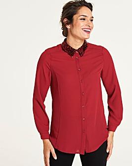 Wine Sequin Detail Shirt