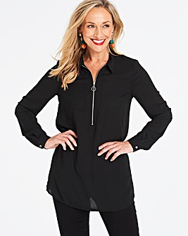 Black Zip Front Shirt