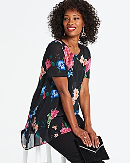Black Floral Extreme Dip Back Blouse
