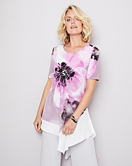 Julipa Print Tunic with Chiffon Trim