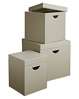 Set of 3 Cubes with Flush Lids