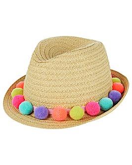 Accessorize Pom Pom Trilby Hat