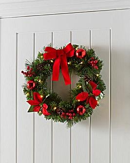 Pre- Lit LED Poinsettia Wreath