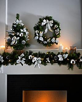 Pre- Lit LED Poinsettia Garland