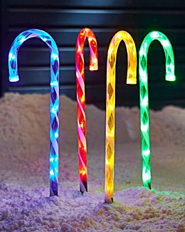 Set of 4 LED Candy Cane Path Finders