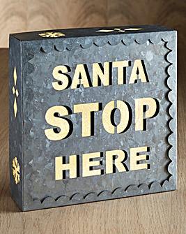 Santa Stop Here Silver Glitter Sign