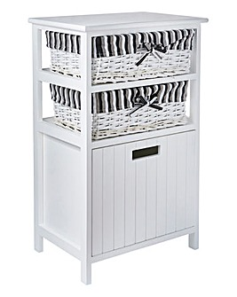 White Split Wood Storage Box Drawer Unit