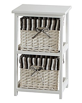 White Split Wood Frame 2 Drawer Unit