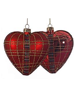 Set of 4 Tartan Heart Baubles