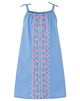 Accessorize Chambray Embroidered Dress