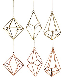 Set of 6 Copper & Gold Geometric Baubles