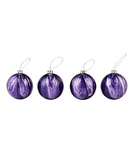 Set of 4 Purple Glass Shimmer Baubles