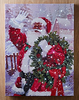 Snowy Santa with Wreath LED Canvas